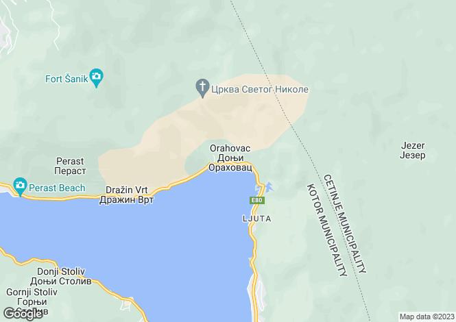 Map for Orahovac, Kotor Bay, Montenegro