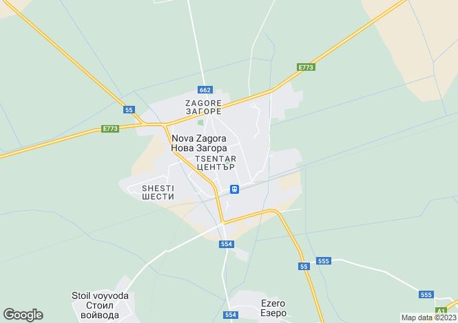 Map for Nova Zagora, Sliven