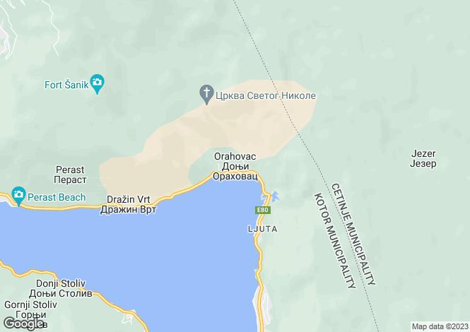 Map for Orahovac, Kotor Bay, Kotor