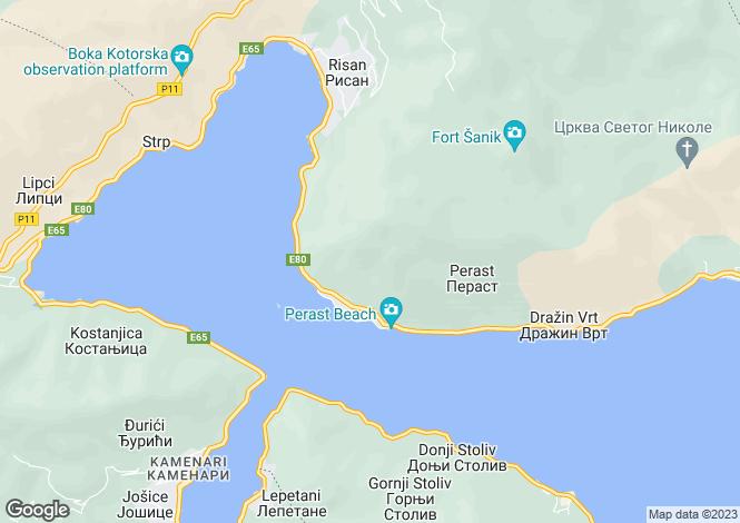 Map for Perast, Kotor, Montenegro