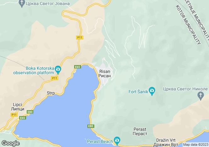 Map for Risan, Kotor Bay, Montenegro