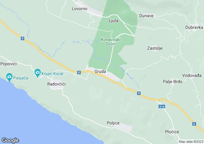 Map for Gruda, Konavle Region, Dubrovnik-Neretva, Croatia