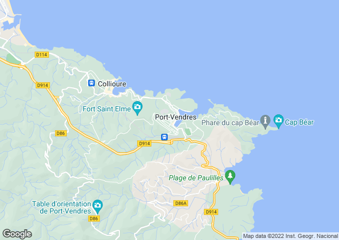 Map for Port-Vendres, Pyrénées-Orientales, Languedoc-Roussillon