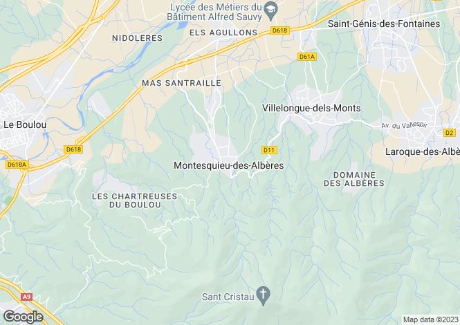 Map for Montesquieu-des-Albères, Pyrénées-Orientales, Languedoc-Roussillon