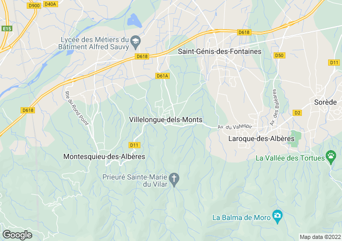 Map for VILLELONGUE DELS MONTS, Perpignan Area, Languedoc,