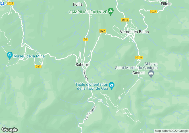 Map for Languedoc-Roussillon, Pyrénées-Orientales, Sahorre