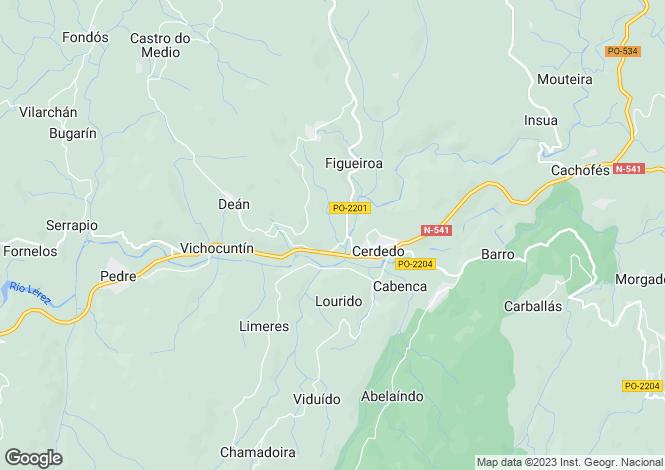 Map for Galicia, Pontevedra, Cerdedo