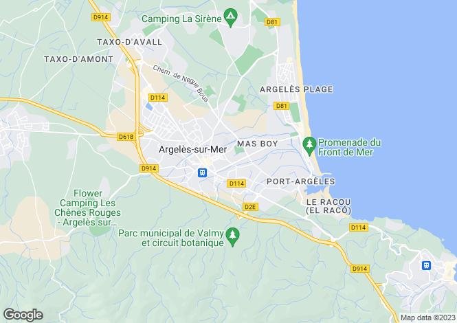 Map for Argelès-sur-Mer, Pyrénées-Orientales, Languedoc-Roussillon