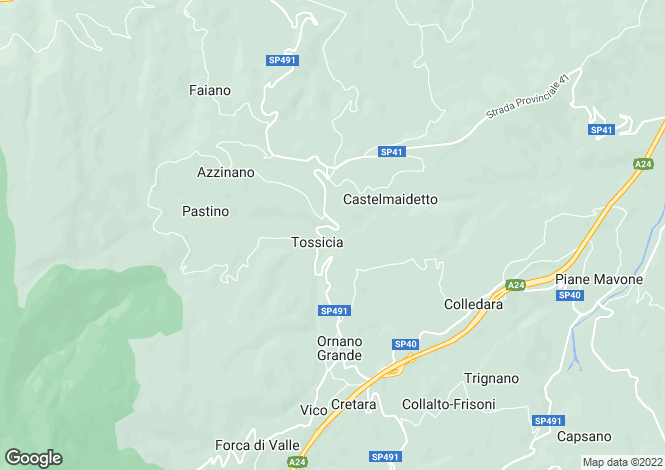 Map for SP491, Tossicia, Abruzzo