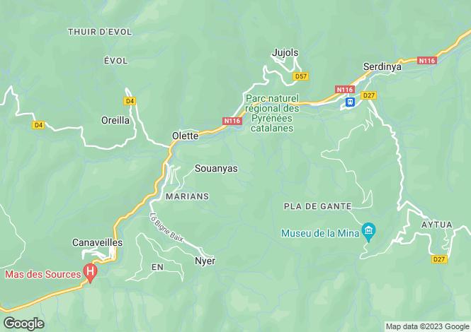 Map for souanyas, Pyrénées-Orientales, France
