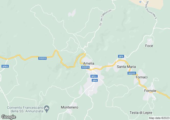 Map for Umbria, Terni, Amelia