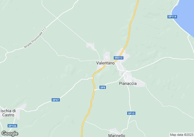 Map for Italy - Lazio, Viterbo, Valentano
