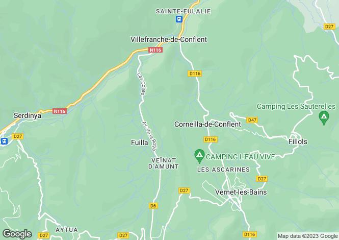 Map for Languedoc-Roussillon, Pyrénées-Orientales, Fuilla