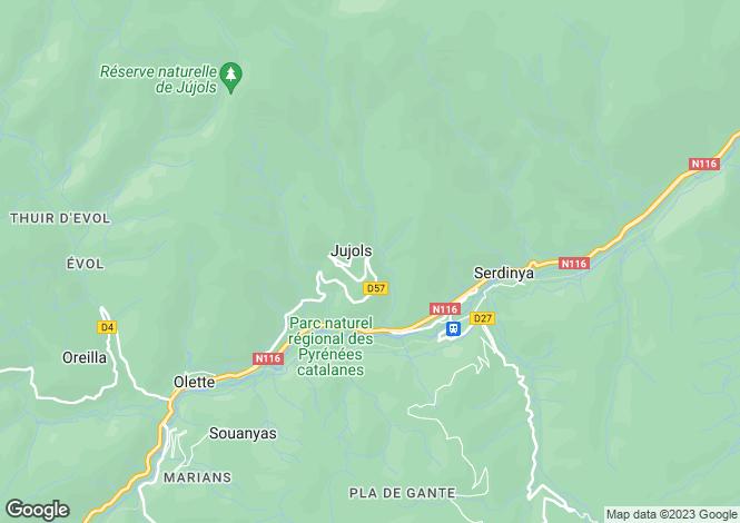 Map for Languedoc-Roussillon, Pyrénées-Orientales, Jujols