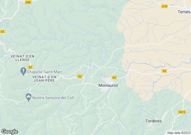 Map for Montauriol, Pyrénées-Orientales, Languedoc-Roussillon