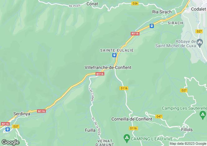 Map for villefranche-de-conflent, Pyrénées-Orientales, France