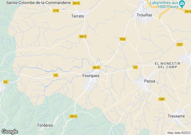 Map for Fourques, Pyrénées-Orientales, Languedoc-Roussillon