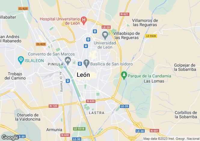 Map for Castile-Leon, Leon, León