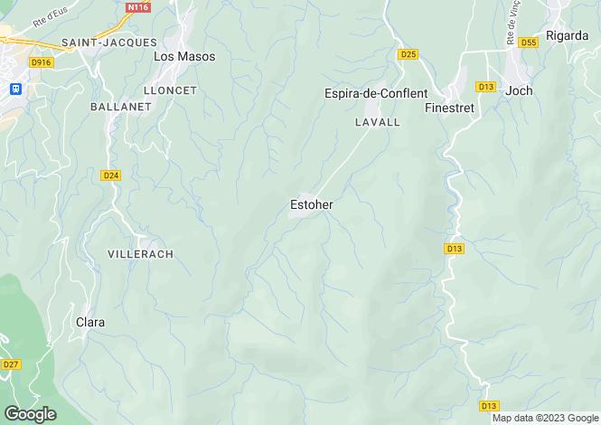 Map for estoher, Pyrénées-Orientales, France