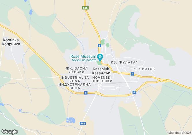 Map for Kazanluk, Stara Zagora