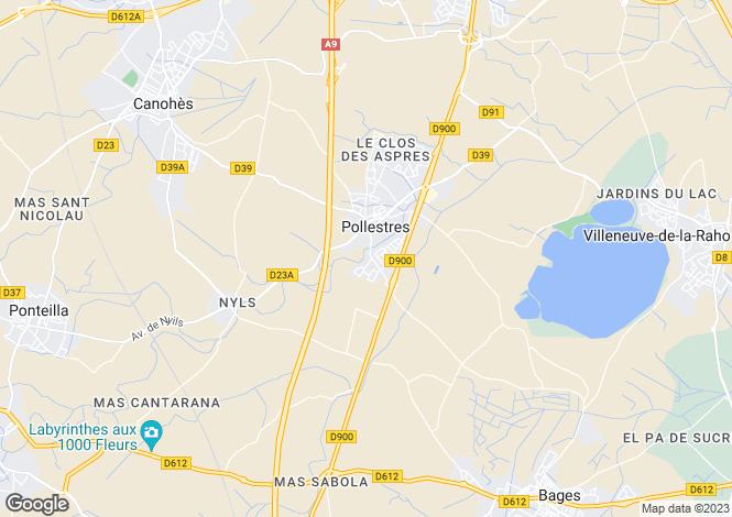 Map for pollestres, Pyrénées-Orientales, France