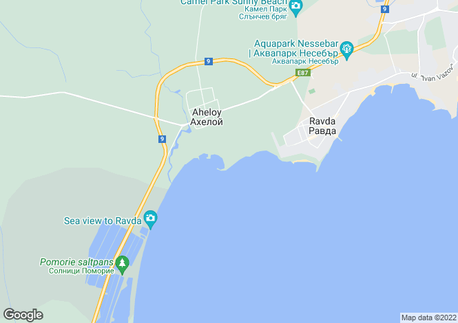 Map for Akheloy, Burgas