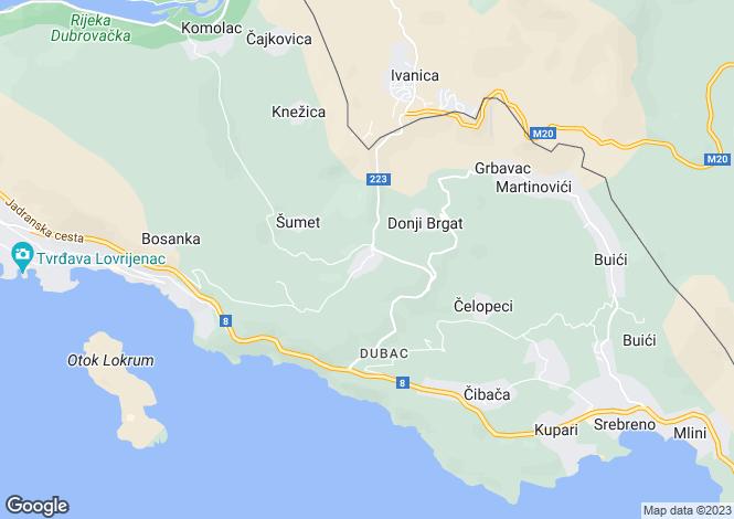 Map for Brgat, Dubrovnik, Croatia