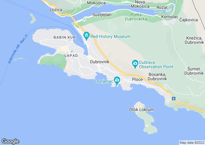 Map for Dubrovnik, Dubrovnik-Neretva, Croatia