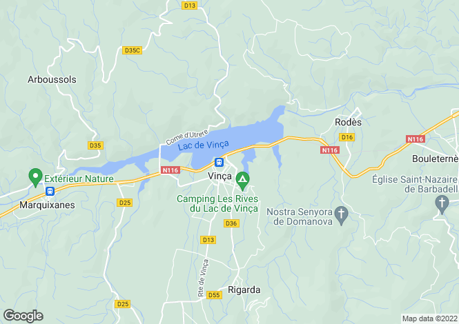 Map for vinca, Pyrénées-Orientales, France