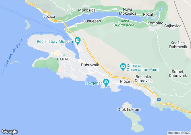 Map for Dubrovnik, Dubrovnik-Neretva