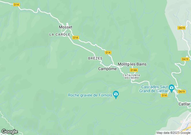 Map for Languedoc-Roussillon, Pyrénées-Orientales, Campôme