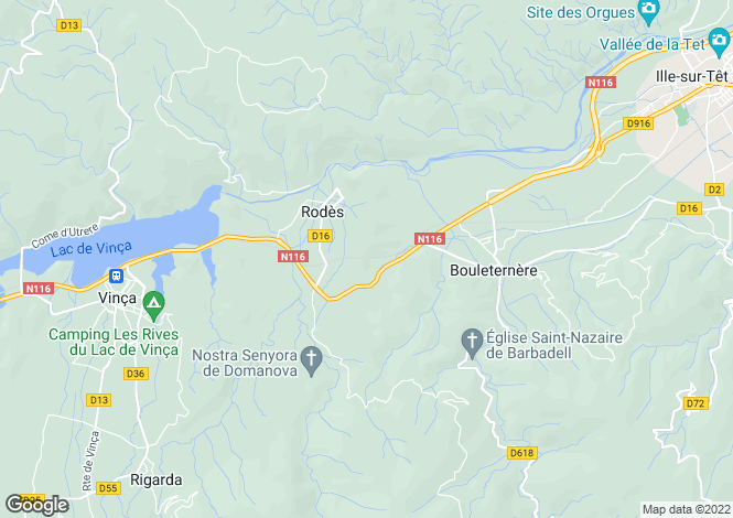 Map for rodes, Pyrénées-Orientales, France