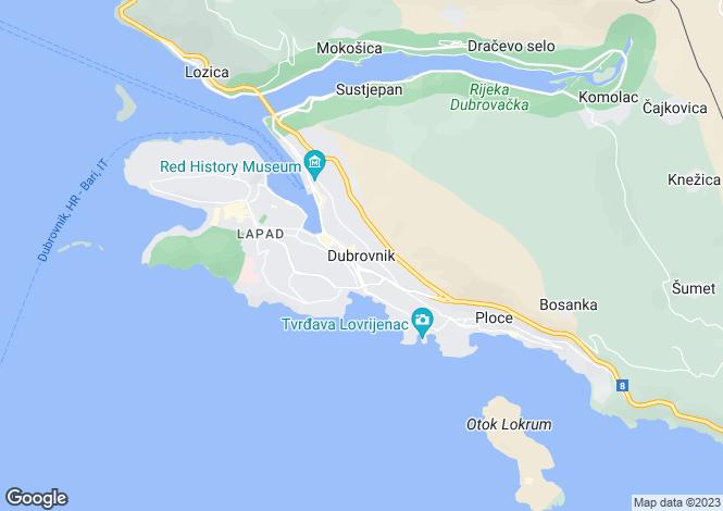 Map for Dubrovnik, Dalmatia, Croatia