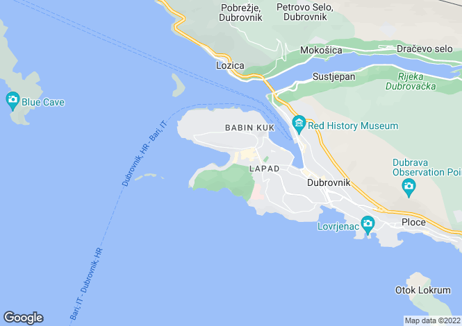 Map for Lapad Bay, Dubrovnik, Croatia