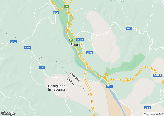 Map for Umbria, Terni, Baschi