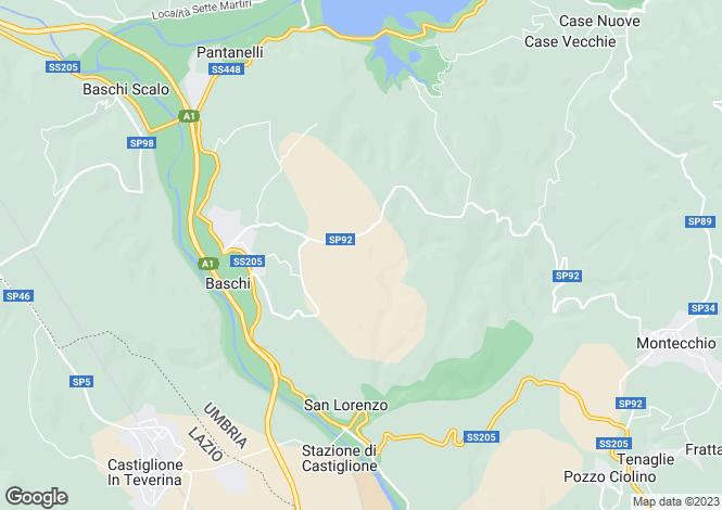 Map for Baschi, Terni, Umbria