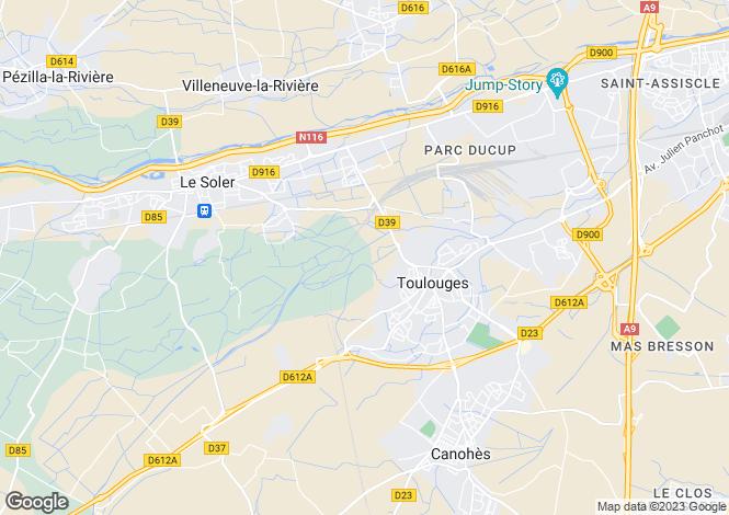 Map for Toulouges, Pyrénées-Orientales, Languedoc-Roussillon