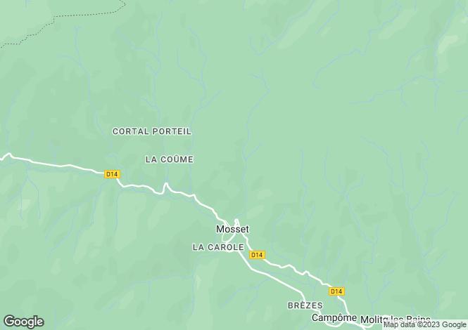 Map for Languedoc-Roussillon, Pyrénées-Orientales, Mosset