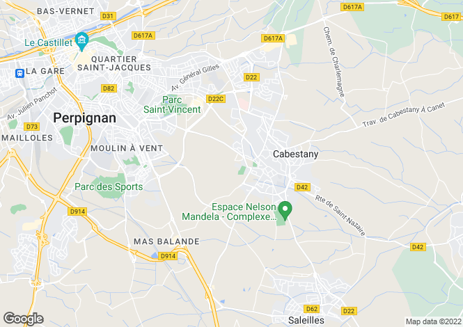 Map for cabestany, Pyrénées-Orientales, France