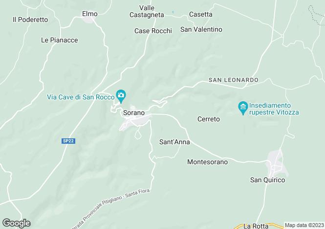 Map for Sorano, Grosseto, Italy