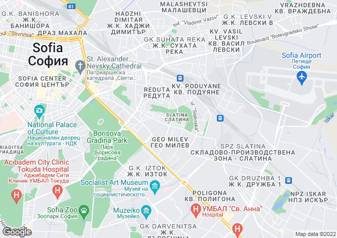 Map for Sofia Region, Sofiya (Sofia)