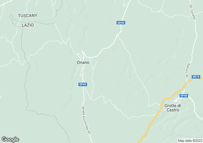 Map for Lazio, Viterbo, Onano