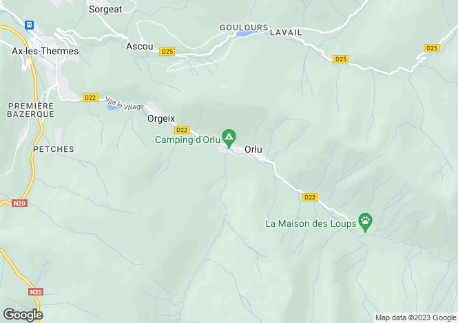 Map for Midi-Pyrénées, Ariège, Orlu