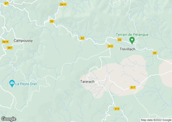 Map for tarerach, Pyrénées-Orientales, France