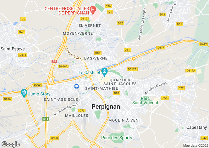 Map for Perpignan, Languedoc-Roussillon, France