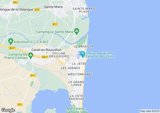Map for Canet-Plage, Pyrénées-Orientales, Languedoc-Roussillon