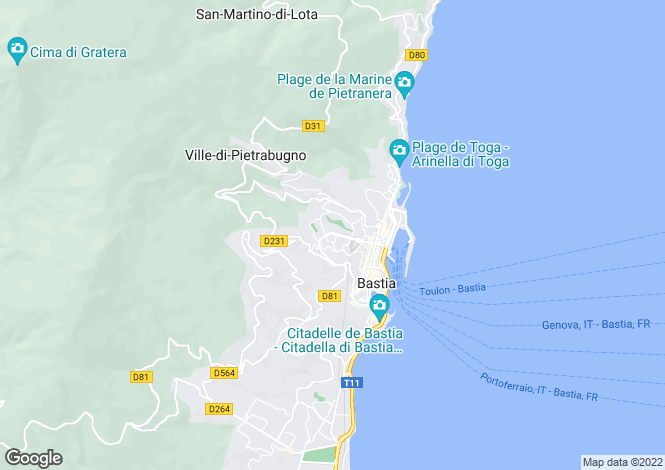 Map for Bastia (Centre), 20200, France