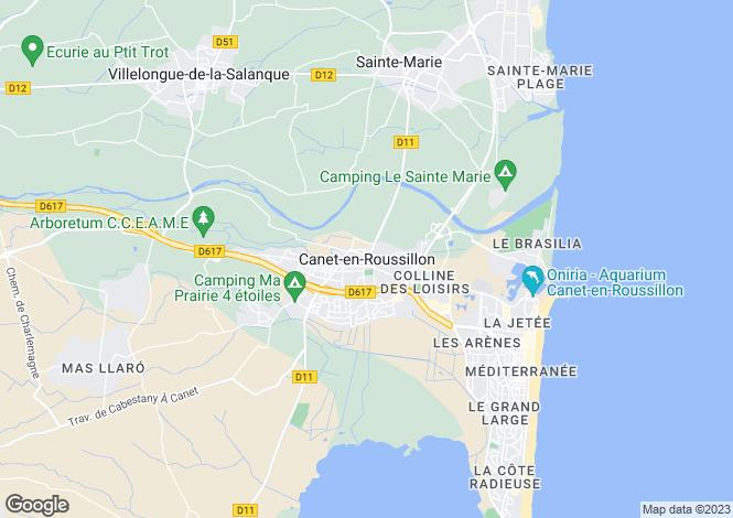 Map for Canet-En-Roussillon, Languedoc-Roussillon, 66140, France