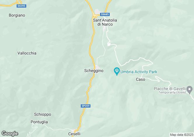 Map for Umbria, Perugia, Scheggino