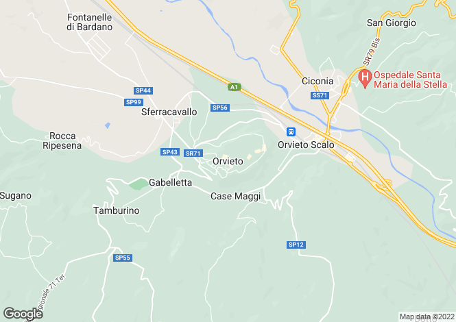 Map for Orvieto, Umbria, Italy